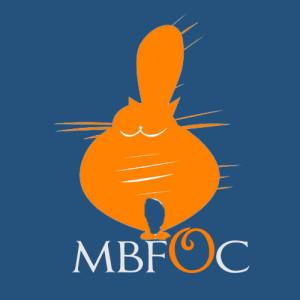 old blue and orange logo with fat orange cat
